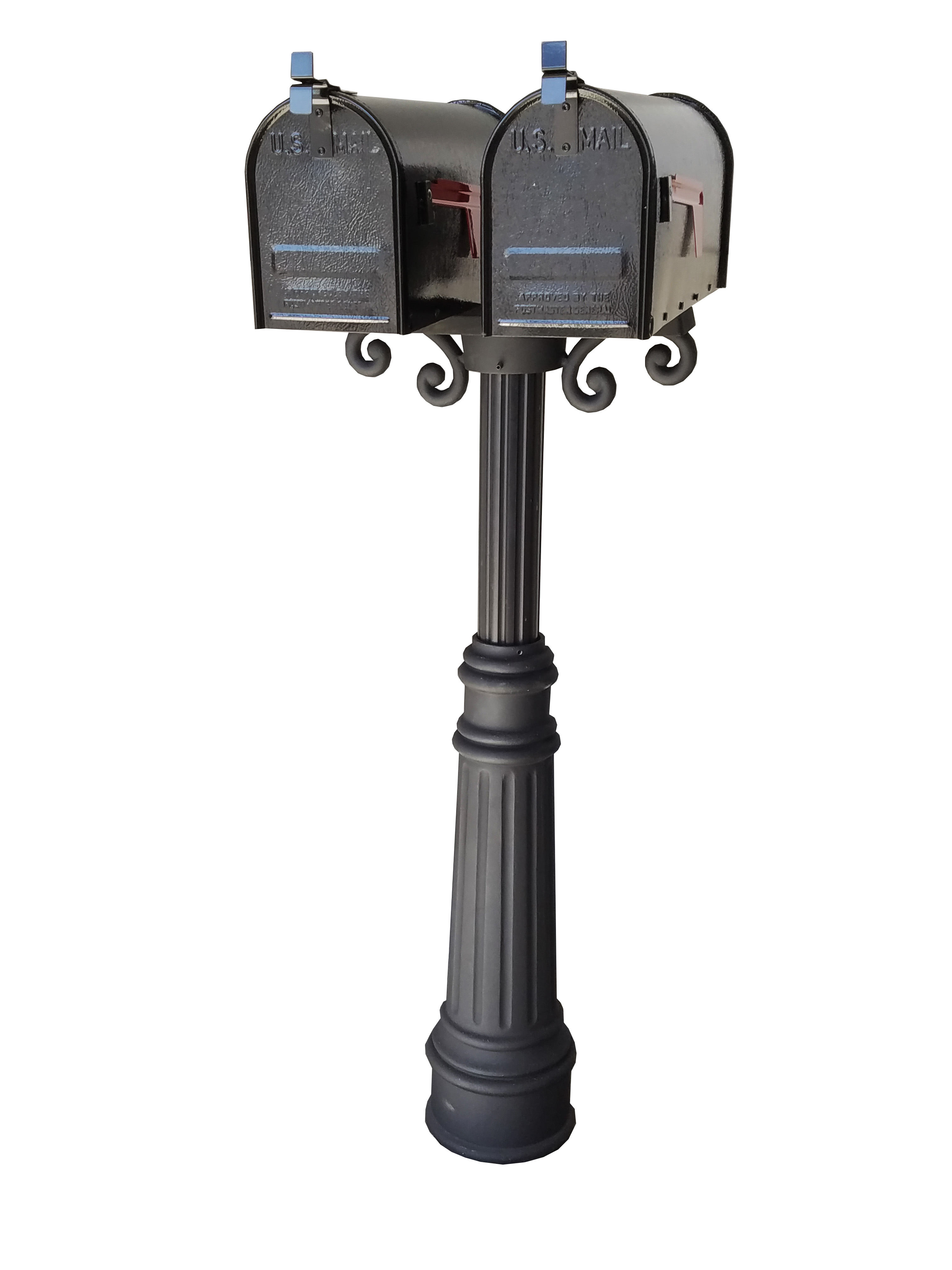 Bam Premier Dual Mailbox Package W Pedestal Scroll And