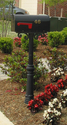 Bam Premier Curbside Mailbox W Pedestal Scroll
